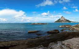 Beach on Wanshan Archipelago, China. Beach on Wanshan Archipelago, with blue sky, White clouds, green sea.It`s Unobscured and Comfortable royalty free stock image
