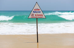 Beach warning sign. In Thailand stock photography