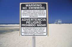 A beach warning sign Stock Image