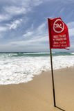 Beach warning sign. Strong Currents & Dangerous sign on beach Royalty Free Stock Photography