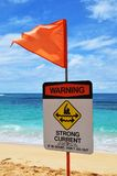 Beach warning sign strong currents royalty free stock photo