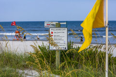 Beach Warning Sign. A beach warning sign suggests medium hazard for swimming royalty free stock image