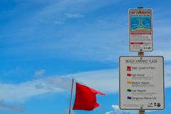 Beach warning signs and flags, Jacksonville Beach, Duval County, Florida. Beach warning signs and flags, Jacksonville Beach, Duval County, Florida stock image