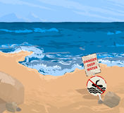Beach and warning signs Stock Images