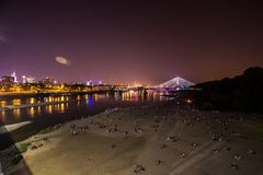 Beach in Warsaw, Poland. This is a view of beach by the Wisla River in Warsaw during sunset. Beach in Warsaw, Poland stock photos