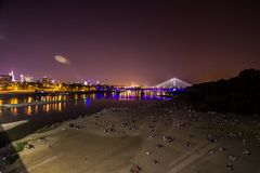 Beach in Warsaw, Poland. This is a view of beach by the Wisla River in Warsaw during sunset. Beach in Warsaw, Poland royalty free stock photography