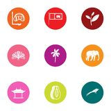 Beach water icons set, flat style. Beach water icons set. Flat set of 9 beach water vector icons for web isolated on white background Royalty Free Illustration