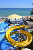 Beach water slides  pools Stock Images
