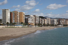 Beach in La Caleta. Malaga, Spain Royalty Free Stock Image