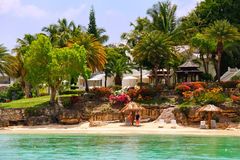 Beach Waterfront Home on Antigua royalty free stock photography