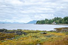 Beach and waterfront view in Ketchikan, Alaska royalty free stock images