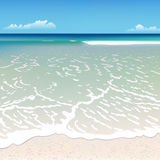 Beach with a wave stock illustration