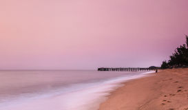 Beach. And wave long-exposure in morning Royalty Free Stock Photo