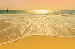 Beach wave. Sandy beach and gently advancing wave Royalty Free Stock Image