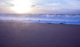 Beach wave. In the sunset and sunrays Stock Images