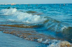 Beach with waves. At the Mediterranean Resort Antalya Turkey Royalty Free Stock Photos