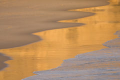 Beach waves. Golden detail of a beach sand, Portugal Stock Photography