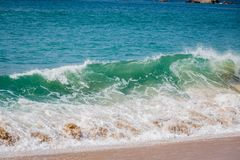 Beach waves on Acapulco Beach. In winter royalty free stock photography