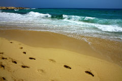 Beach,Waves and footprints Royalty Free Stock Photography