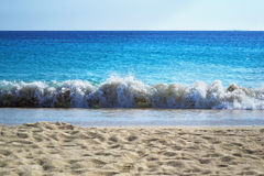 Beach waves at Saint Prokopios Naxos Greece royalty free stock images
