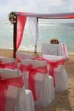 Beach wedding. Tropical beach wedding at sunset stock photo