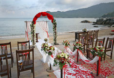 Beach Wedding. Wedding on a beach in Thailand Royalty Free Stock Images