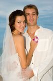 Beach Wedding. A young couple having beach wedding royalty free stock images