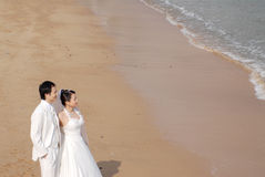 Beach wedding. Bride and Groom Walking on the Beach Stock Photography