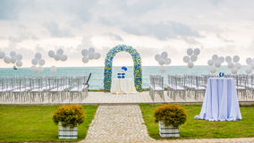 Beach wedding arch Stock Images