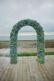 Beach wedding arch. Beach wedding set up, outdoor wedding reception, wedding arch Stock Images