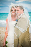 Beach Wedding: Bride and Groom Stock Photos