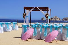 Beach wedding. Ceremony set up in Cabo San Lucas. Also available in vertical royalty free stock images