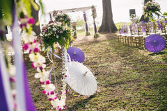 Beach wedding ceremony setup Stock Image