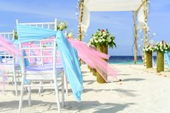Beach, Wedding, Chairs Stock Photos