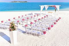 Beach, Wedding, Chairs Royalty Free Stock Photos
