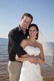Beach wedding couple royalty free stock photos