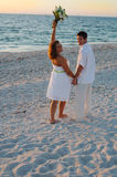 Beach wedding couple celebrate Stock Images