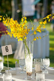 Beach wedding decor table setting and flowers. Beach wedding table decor setting and tropical flowers Royalty Free Stock Images