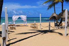 Beach wedding gazebo. This is a photo of a wedding gazebo on the beach in the Dominican Republic royalty free stock photos
