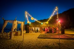 Beach Wedding at night Curacao Views. Beach Wedding at Playa Hunku Views around the Caribbean Island of Curacao stock images