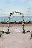 Beach Wedding - overlooking ocean and rocks Stock Photo