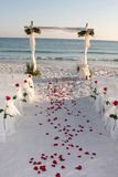 Beach Wedding Path Rose Petals Stock Photo