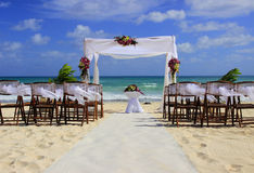 Beach wedding preparation. Wedding preparation on a beautiful sandy beach in Mexico Stock Photography