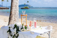 Beach wedding sand ceremony Royalty Free Stock Images