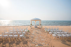 Beach Wedding setup. Wedding setup on the beach stock images