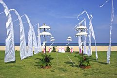 Beach wedding setup in Bali, Nusa Dua, Indonesia Royalty Free Stock Images