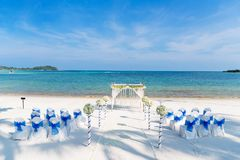 Beach Wedding Venue Samui Thailand. The decoration of wedding venue on the beach with the ocean in the background around 5pm before the sunset, Simple but Stock Photo