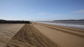 The beach Weston-super-Mare on the last weekend of summer holidays stock video