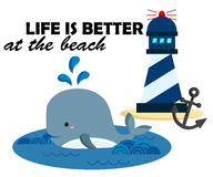 Beach and whale. A vector of beach and whale Royalty Free Stock Photography