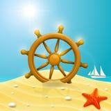 Beach with wheel of the ship Stock Photos